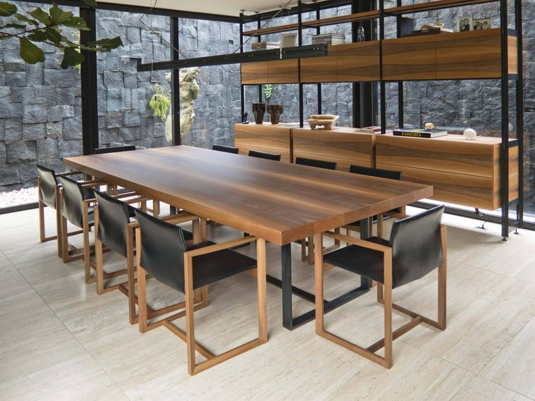 BROWN Wooden Top and Metal Base Meeting Room Table by Stephane Lebrun for Dessie' - DUPLEX DESIGN