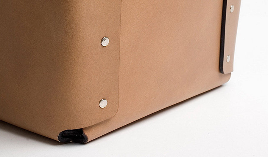 CARLO Riveted Leather Wastepaper Bin by Claude Bouchard for Oscar Maschera - DUPLEX DESIGN