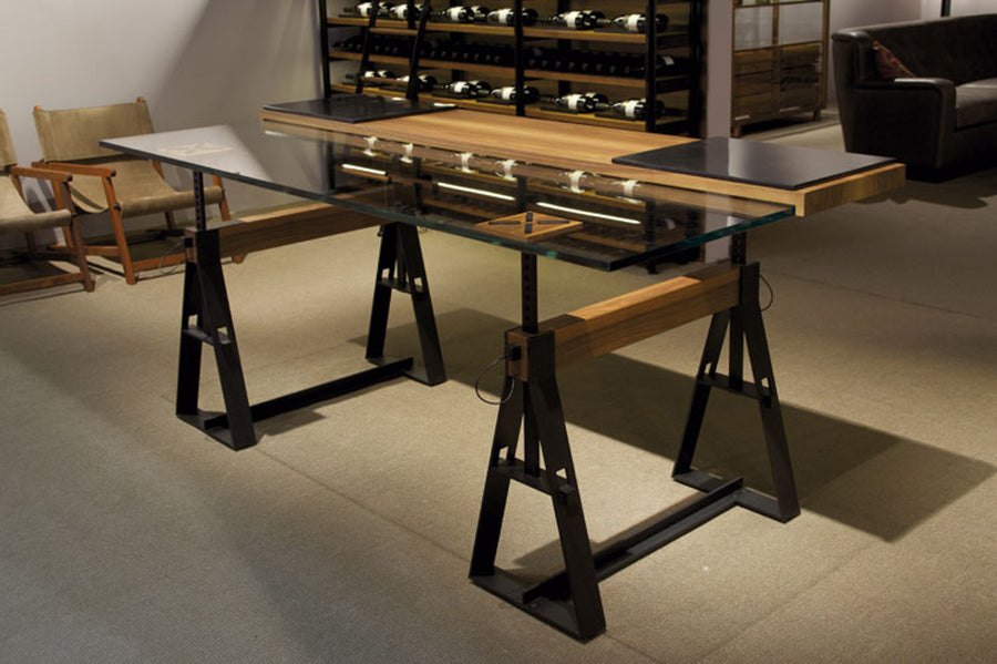 CAN PAU Adjustable in Height Trestle Table by Jaume Tresserra for Dessie' - DUPLEX DESIGN
