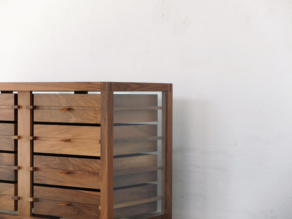 OPTIMUM Glass and Walnut Chest of 12 Drawers by Stephane Lebrun for Dessie'