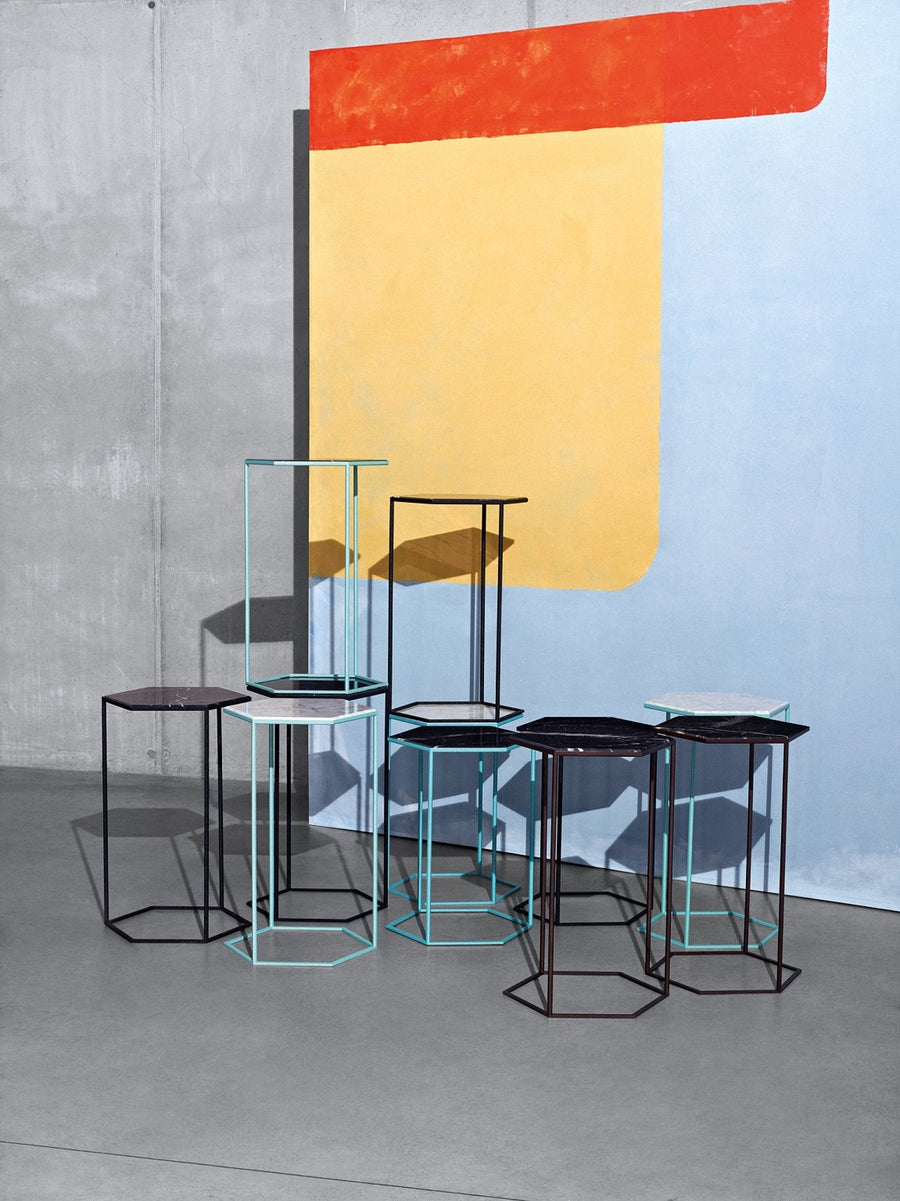HEXXED Glass or Marble Top Side Table by Moroso for Diesel Living - DUPLEX DESIGN