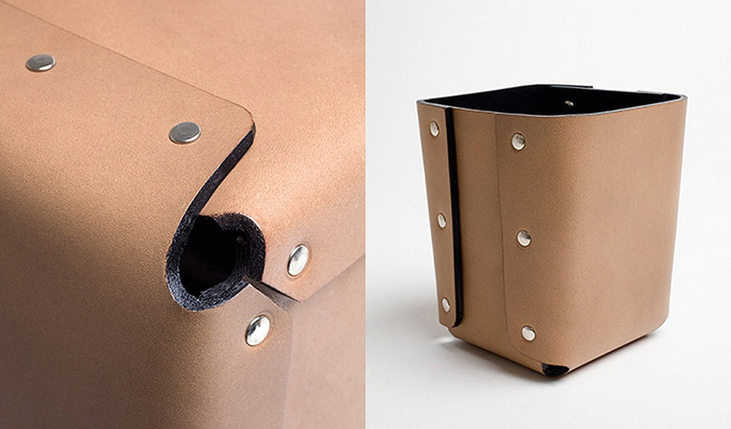 LORENZO Riveted Leather Pencil Holder by Claude Bouchard for Oscar Maschera - DUPLEX DESIGN
