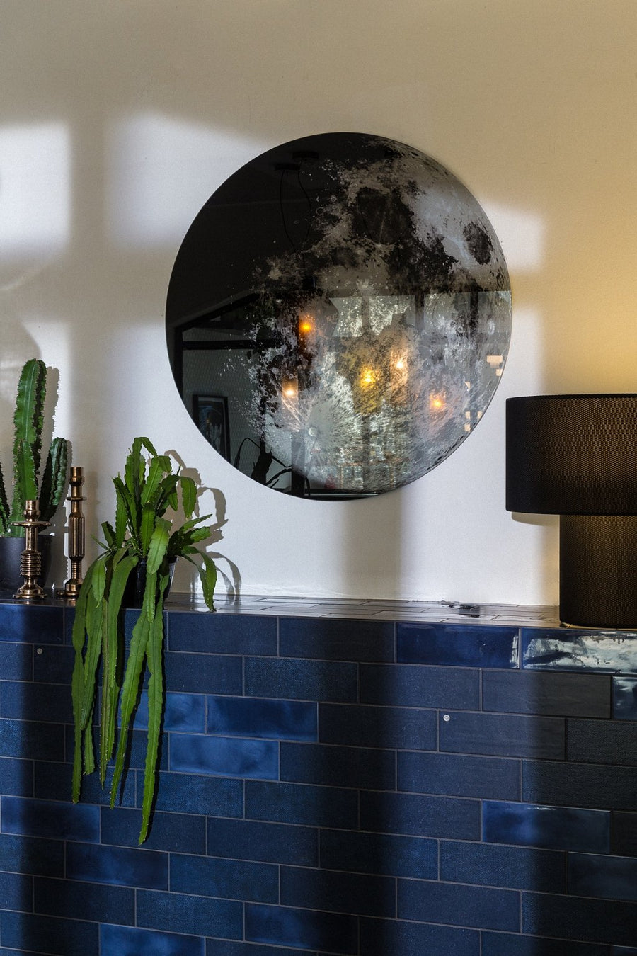 MY MOON MY MIRROR Round Wall Mirror in Printed Glass by Moroso for Diesel Living - DUPLEX DESIGN