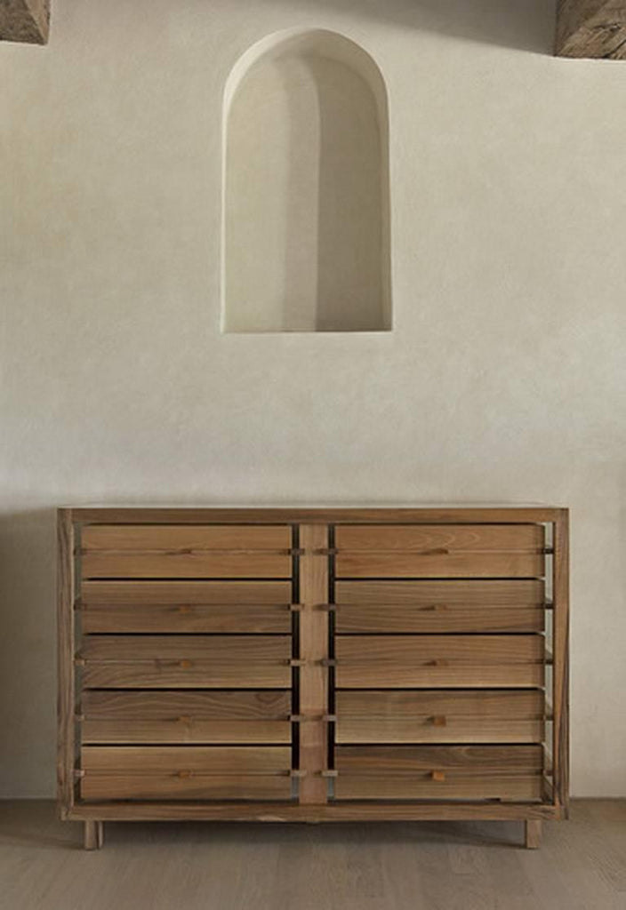 OPTIMUM Glass and Walnut Chest of 10 Drawers by Stephane Lebrun for Dessie'