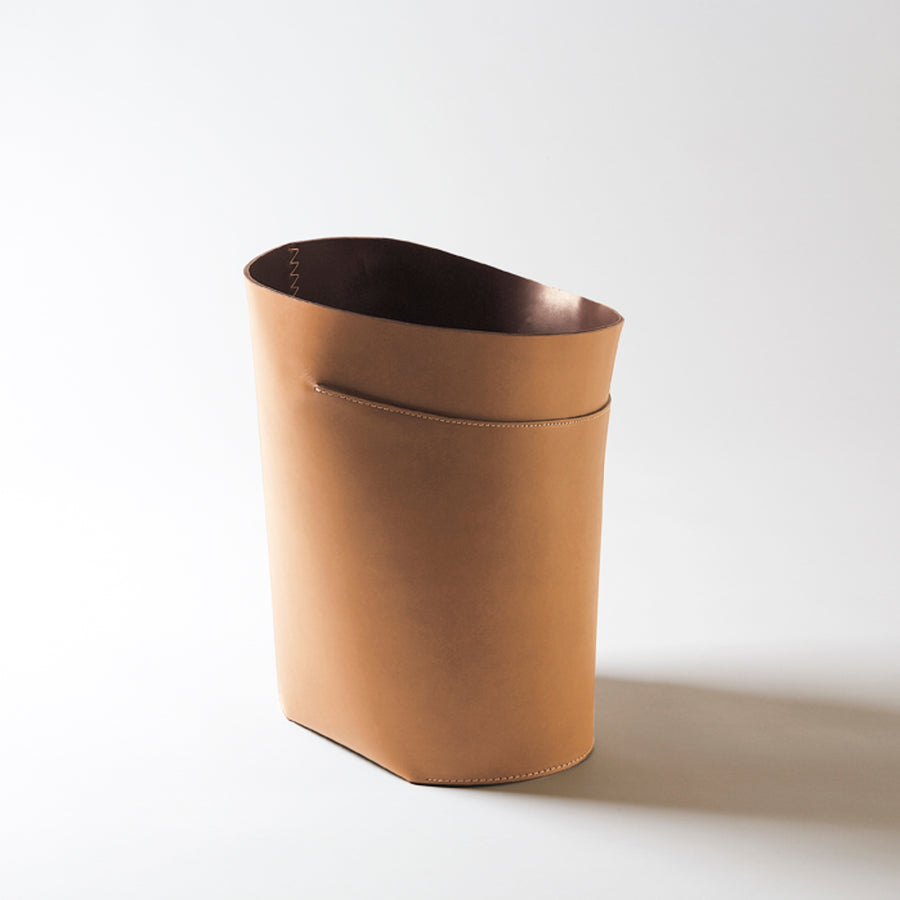 ROBIN Leather Basket by Claude Bouchard for Oscar Maschera