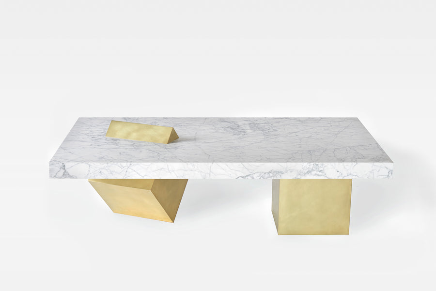 COEXIST Marble and Brass Coffee Table by Arielle Assouline-Lichten for Slash Objects - DUPLEX DESIGN