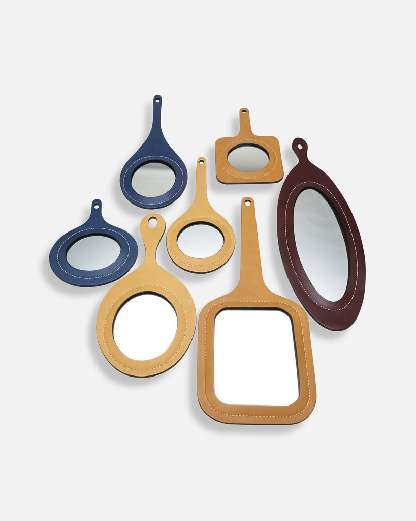 PERFECT DAY Set of 7 Leather Mirrors by Nestor Perkal for Oscar Maschera - DUPLEX DESIGN