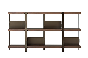 ZIGZAG Low Bronze Painted Steel and Canaletto Walnut Bookcase by Konstantin Grcic for Driade