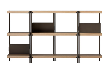ZIGZAG Low Bronze Painted Steel and Veneered Oak Bookcase by Konstantin Grcic for Driade