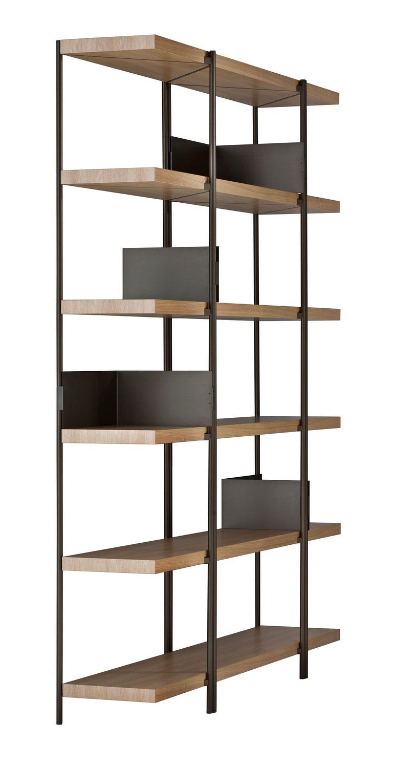 ZIGZAG High Bronze Painted Steel and Veneered Oak Bookcase by Konstantin Grcic for Driade