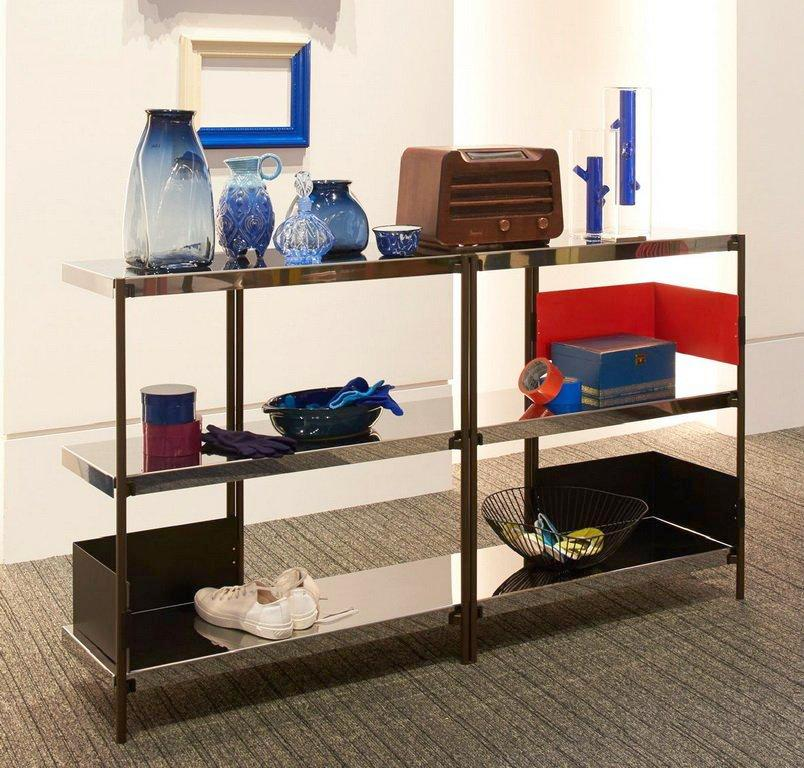 ZIGZAG Low Polished Steel with Mirror Finish Bookcase by Konstantin Grcic for Driade