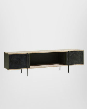 CONSOLE IN ETCHED BRASS WITH PIVOTING DOORS AND STONE ELM SHELVES