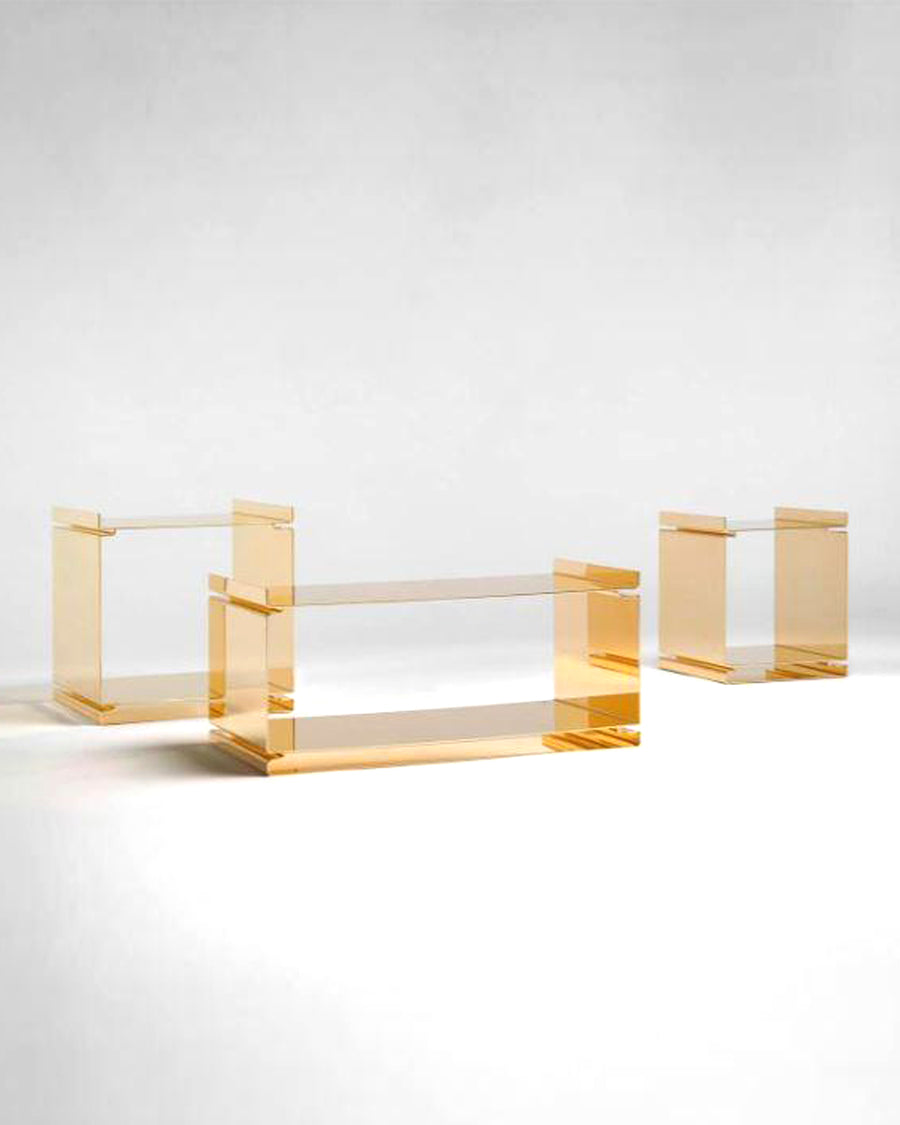GOLD SET OF LOW TABLES