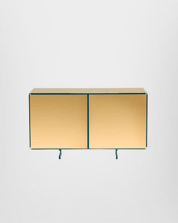 GOLD TWO DOORS SIDEBOARD, 24-KARAT POLISHED GOLD-PLATED