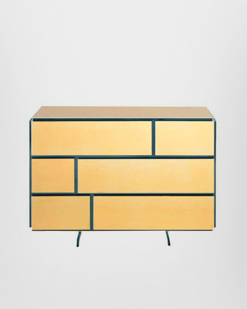 GOLD CHEST OF DRAWERS, 24-KARAT POLISHED GOLD-PLATED