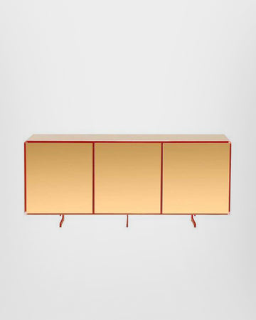 GOLD THREE DOORS SIDEBOARD, 24-KARAT POLISHED GOLD-PLATED