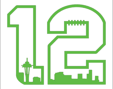 12th Man Decal with Space Needle Decal