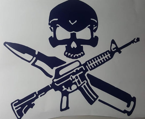 Military skull with gun