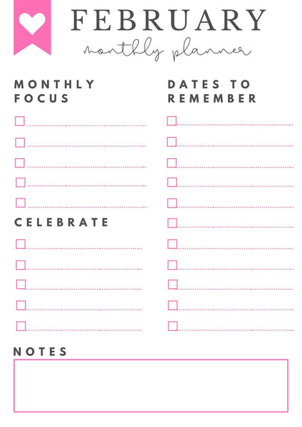 February 2021 Monthly Goals + Celebration Worksheet