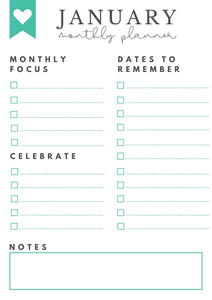 Freebie! January Monthly Goals + Celebration Worksheet