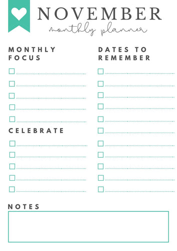 Freebie! November Monthly Goals + Celebration Worksheet