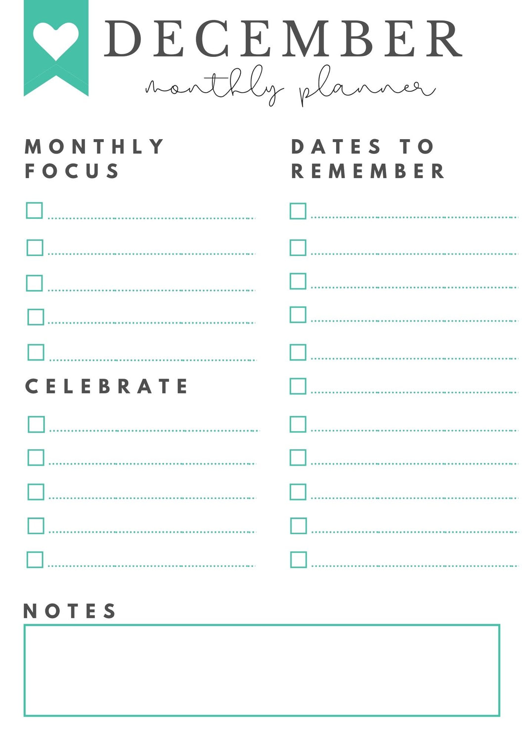 Freebie! December Monthly Goals + Celebration Worksheet
