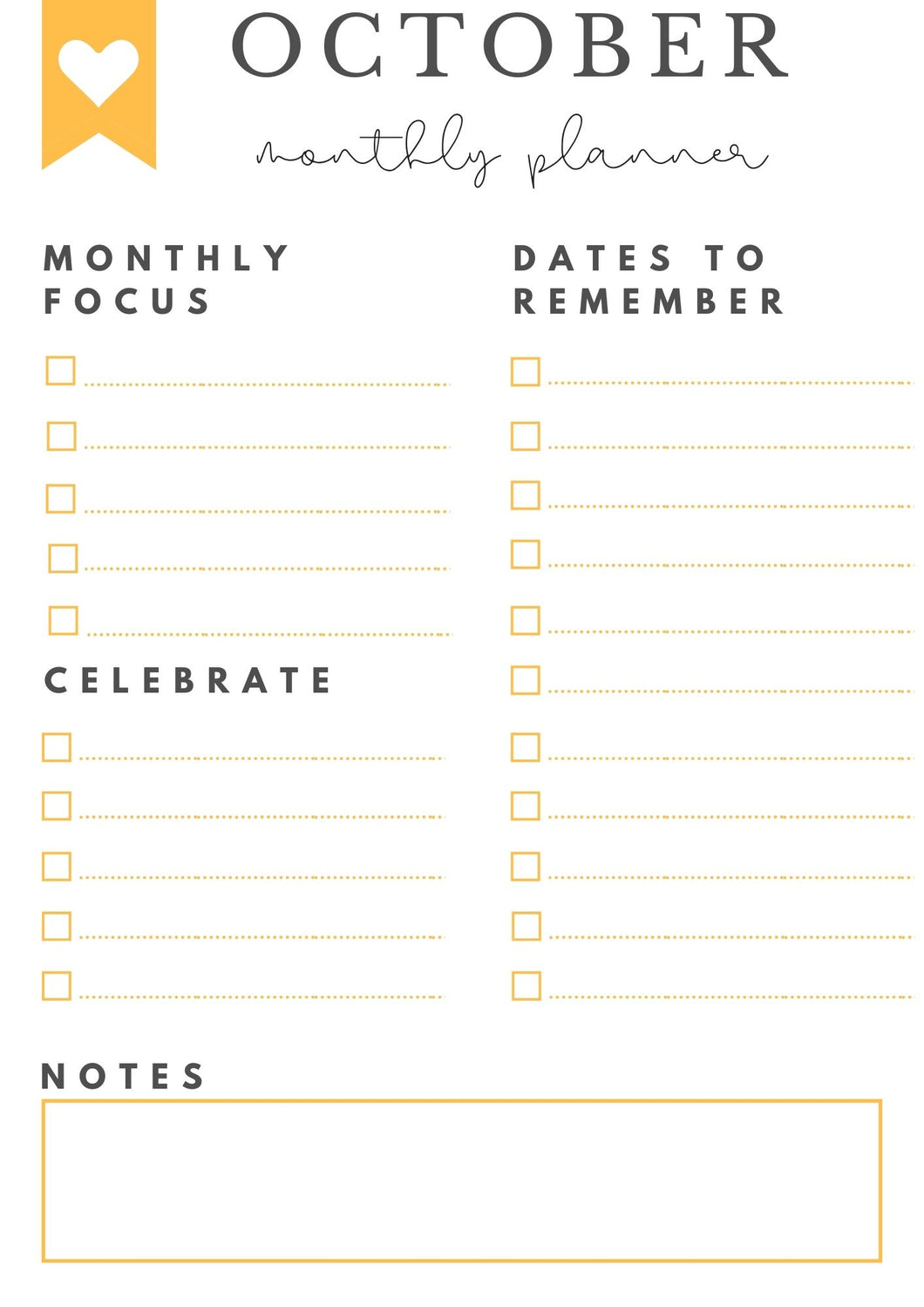 Freebie! October Monthly Goals + Celebration Worksheet