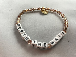 Little Words Project- Beaded white Bracelet: Special unique sayings - younican