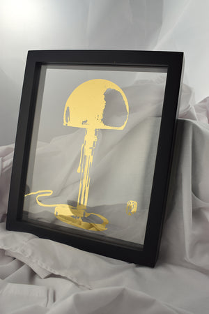 black floating frame with glass gilded with image of bauhaus standing lamp