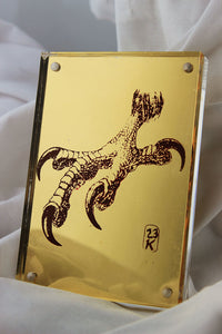 23k gold mirror gilded magnetic paperweight with red eagle claw image