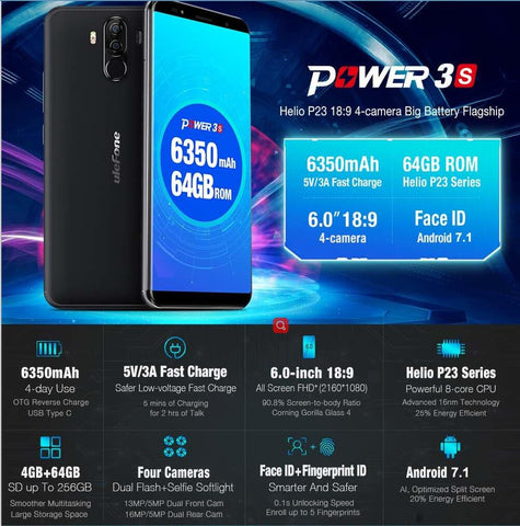 Ulefone Power 3S Android Phone - Octa-Core CPU, Android 7.1, 4GB RAM, Dual-IMEI, 6350mAh, 6-Inch FHD Display (Black)