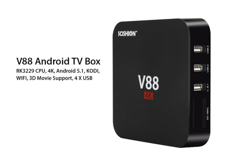 SCISHION V88 Android TV Box  - RK3229 CPU, 4K, Android 6.0,  KODI,  WIFI,  3D Movie Support, 4 X USB, SD Card Slot