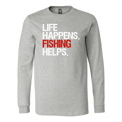 Life Happens Fishing Helps Canvas Brand Long Sleeve Tee Unisex T-shirt - 5 colors available PLUS Size S-2XL MADE IN THE USA