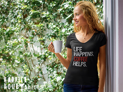 Life Happens Coffee Helps - Ladies T-shirt Womens Triblend Tee - Plus Size Available S-2XL - MADE IN THE USA