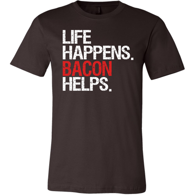 Life Happens Bacon Helps Canvas Brand Tee Mens T-Shirt - 12 colors available - PLUS Size S-3XL MADE IN THE USA