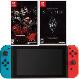 of Nintendo Switch - Neon Blue and Red Joy-Con Darkest Dungeon and Skyrm Bundle