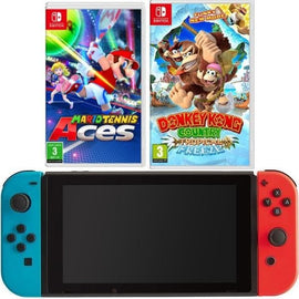 Nintendo Switch - Neon Blue and Red Joy-Con Mario Tennis and Donkey Kong Bundle