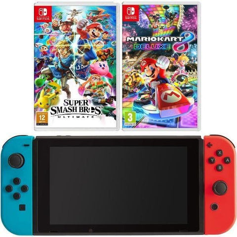 Nintendo Switch - Neon Blue and Red Joy-Con Super Smash and Mario Kart Bundle