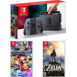 Nintendo Switch with Gray Joy-Con Zelda and Mario Kart Bundle