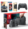 Nintendo Switch with Gray Joy-Con Zelda, Pro Controller and Screen Protector Bundle