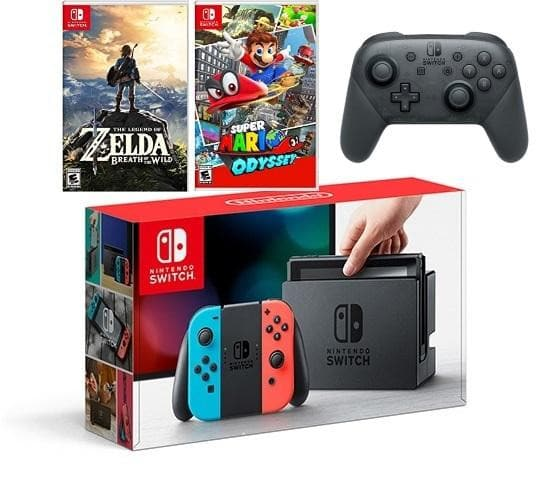 Nintendo Switch - Neon Blue and Red Joy-Con Zelda, Mario Odyssey and Pro Controller Bundle