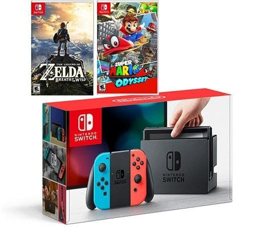 Nintendo Switch - Neon Blue and Red Joy-Con Zelda and Mario Kart Bundle