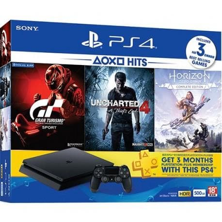 PS4 Slim Bundle With Horizon Zero Dawn Complete Edition, GT Sport, Uncharted 4, 500 GB