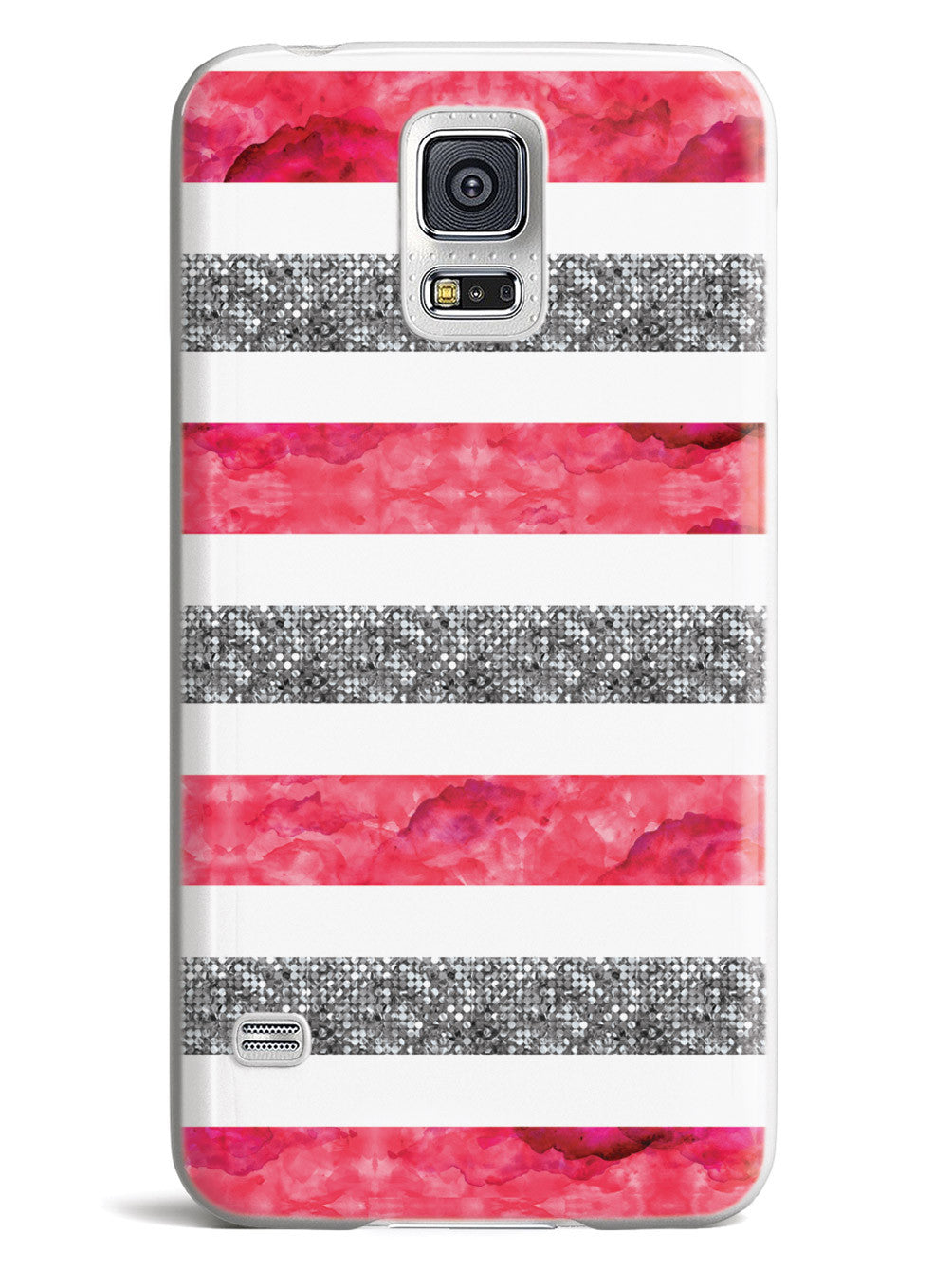 Silver & Pink Stripes Pattern Case