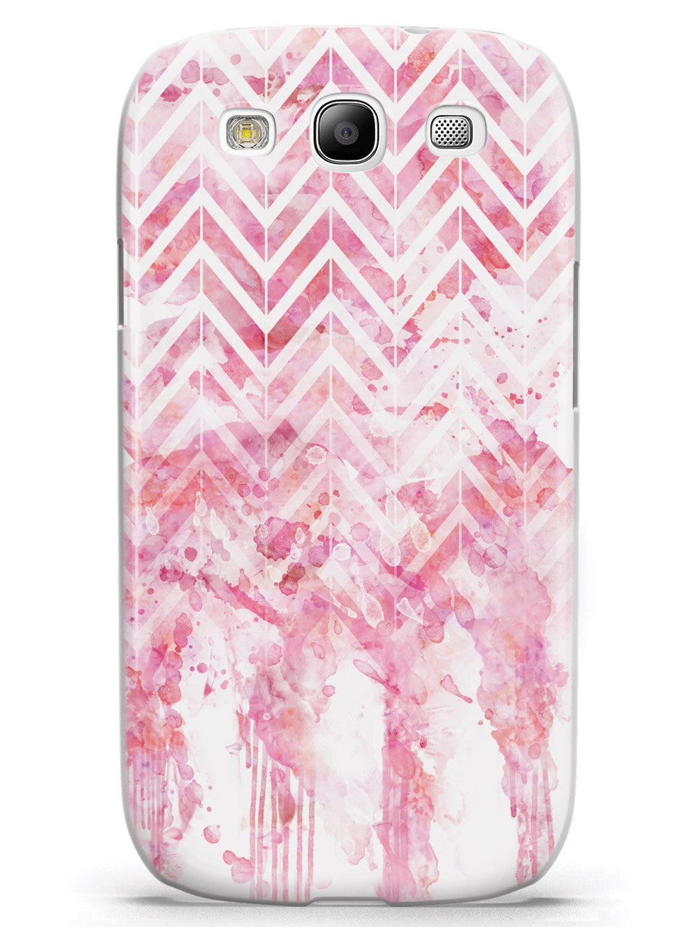 Dripping Watercolor Pink Chevron Pattern Case