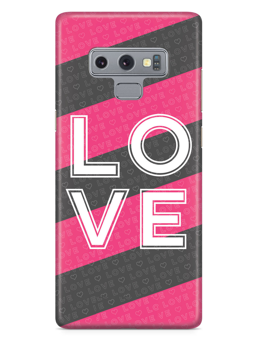 LOVE - Pink & Gray Striped Case