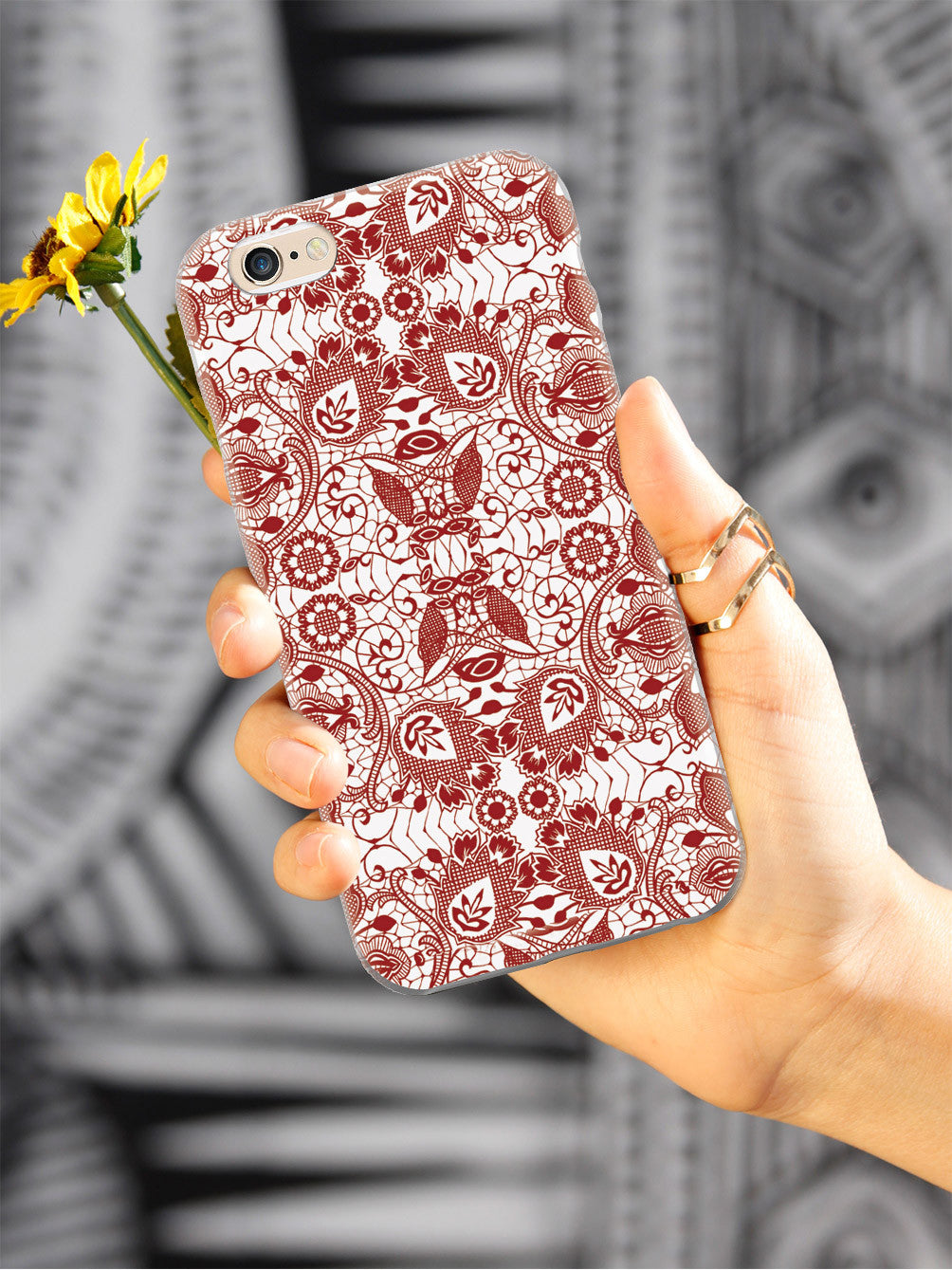 Lace Pattern - Crimson Red Case