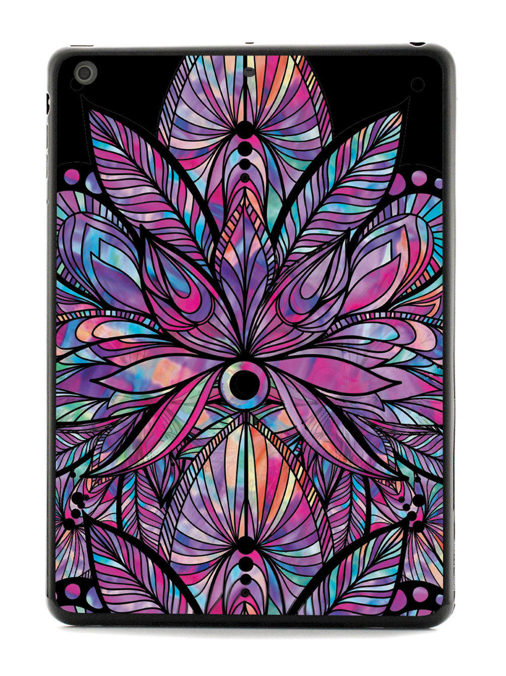 Colorful Lotus Flower Pattern - Black Case