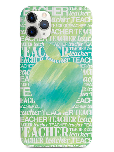 Apple Silhouette - Green Watercolor Case