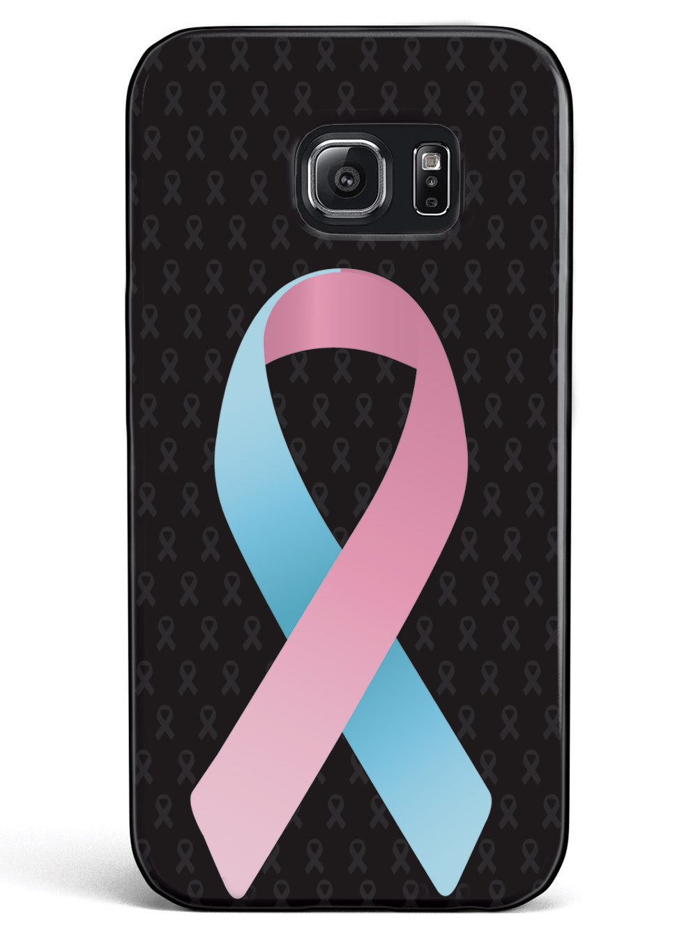 Light Pink and Light Blue Awareness Ribbon - Black Case